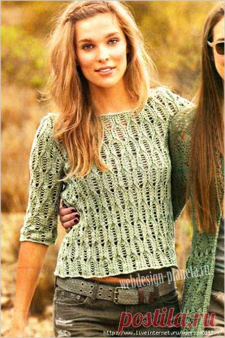 Ажурный пуловер с рукавом 2\3.