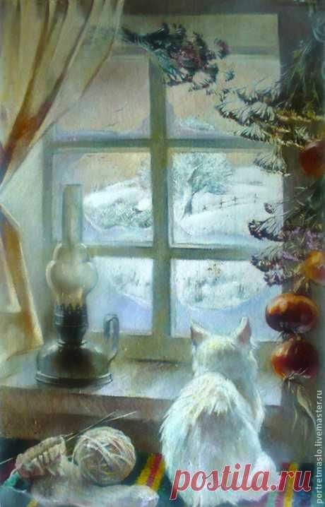Зимнее окно – купить на Ярмарке Мастеров – 4DC57RU | Картины, Харьков