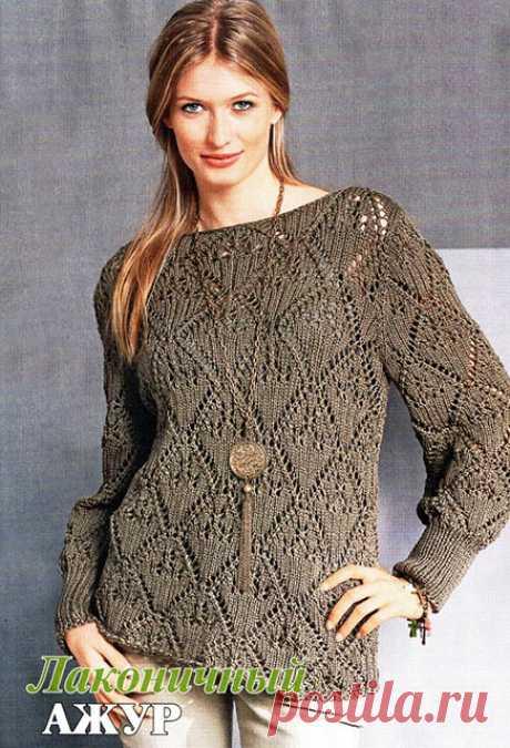 Женский пуловер из шелка с хлопком Лаконичный ажур с вырезом лодочка спицами – описание со схемой вязания