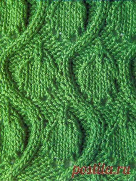 Узор из волн с листьями спицами 16 — Shpulya.com - схемы с описанием для вязания спицами и крючком