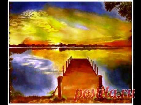 Яркий закат на озере. Как рисовать пейзаж гуашью