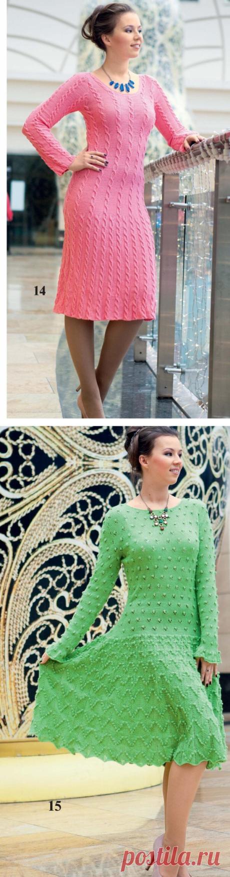 Интересные модели платьев спицами для осени | Вяжем с Еленой Коротенко | Яндекс Дзен