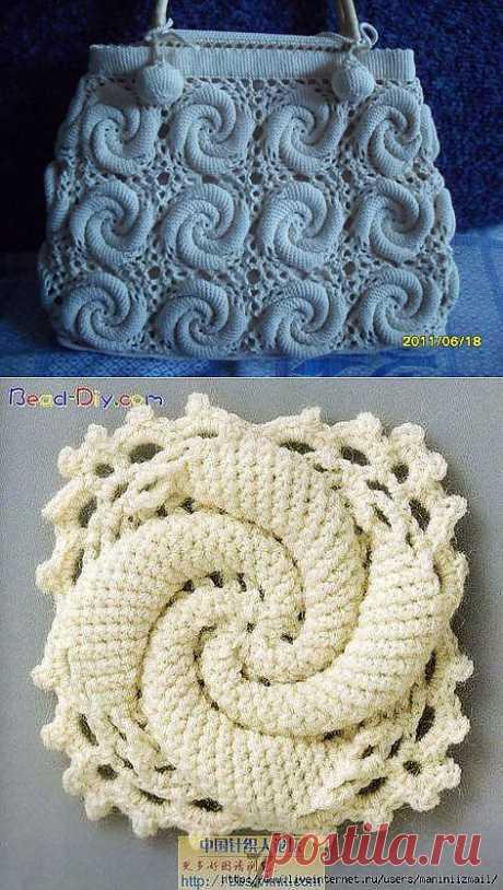 Сумка из спиральных мотивов крючком.