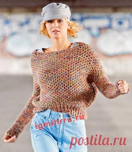 Меланжевый пуловер с сетчатым патентным узором. Вязание спицами со схемами и описанием