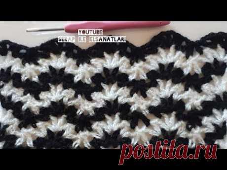 Zigzag battaniye blanket örgü tığişi #stick #crochet - YouTube