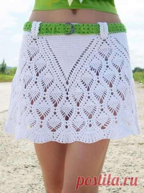Прямые юбки крючком с ананасами – 3 схемы узоров и описание с видео МК