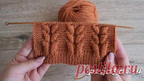 Узор объёмные косы на платочной вязке спицами