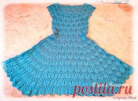 Женское платье крючком. Вариант расклешения геометричного узора - Вязание - Страна Мам