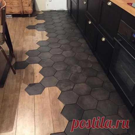 Комбинированный пол на кухне: ламинат и плитка
