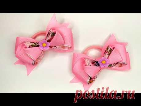 Розовые Бантики из репсовой ленты Канзаши