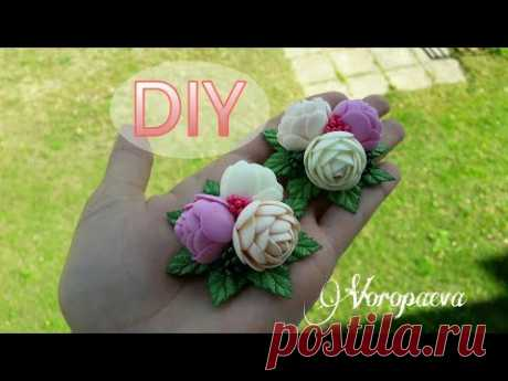 Самые простые цветы из фоамирана Канзаши/ DIY Hair ornaments