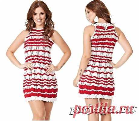 Платье на лето крючком «Красный и белый»
