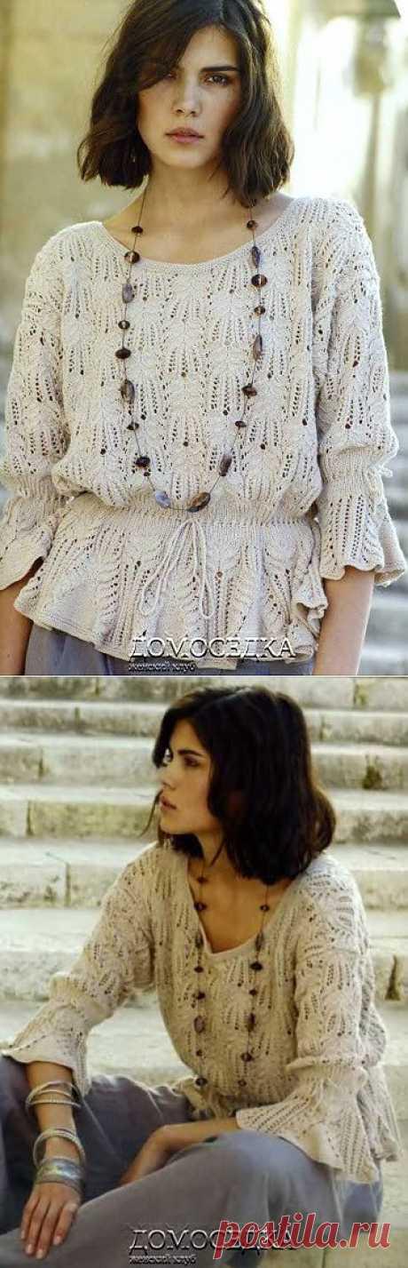 Бесподобная ажурная блуза от дизайнера Marie Wallin связана спицами.