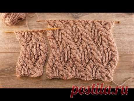 Узор «Пышная резинка в косах» спицами 🐿 «Rib and cables» knitting pattern 🐻