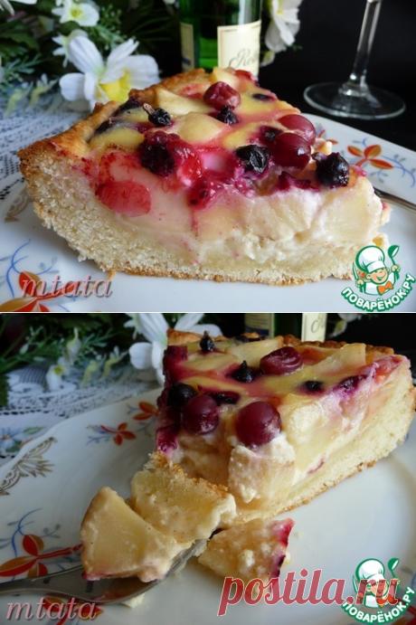 Заливной яблочный пирог с ягодами - кулинарный рецепт