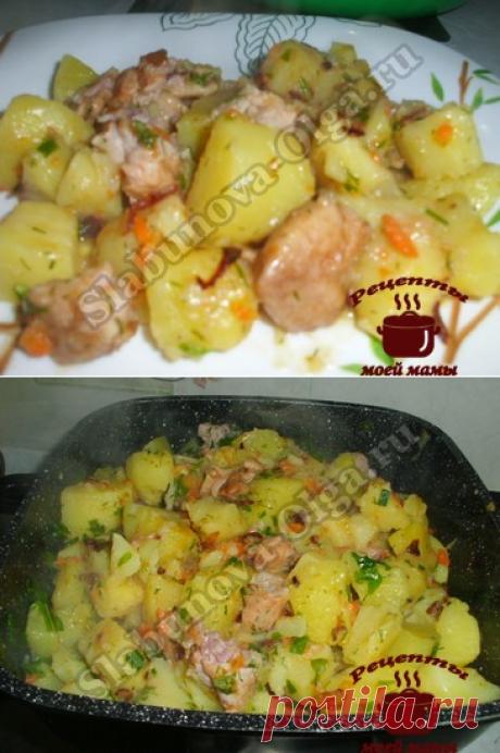 Тушеный картофель с копченой курицей. Рецепт. Фото
