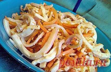 Закуска из моркови с кальмарами