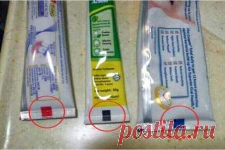 Почему стоит обращать внимание на цвет квадратика на тюбике зубной пасты? / Домоседы