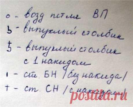 Шапочка-колокольчик   р шапочки.48-52   Вам понадобится:  - пряжа «Лотос» Кировского НПК 250 м/100гр  приблизительно 1 моток основного (лиловый, синий, белый и тп.) и немного зеленого (или его оттенки) цвета:  - крючок №2;  -прозрачные бусины для декора.   Сокращения  ВП – воздушная петля  ССН – столбик с накидом  СБН – столбик без накида  РС – рельефный или выпуклый стобик: РСН-с накидом, РСБН – без накида.   Обозначения:   Шапочка.  В основе шапочки лежит беретик, показа...