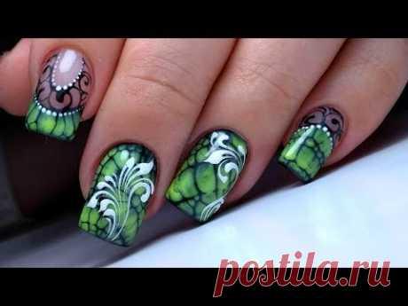 Очень ПРОСТОЙ и Крутой дизайн ногтей по мокрому и вензеля | Удивителные дизайны ногтей