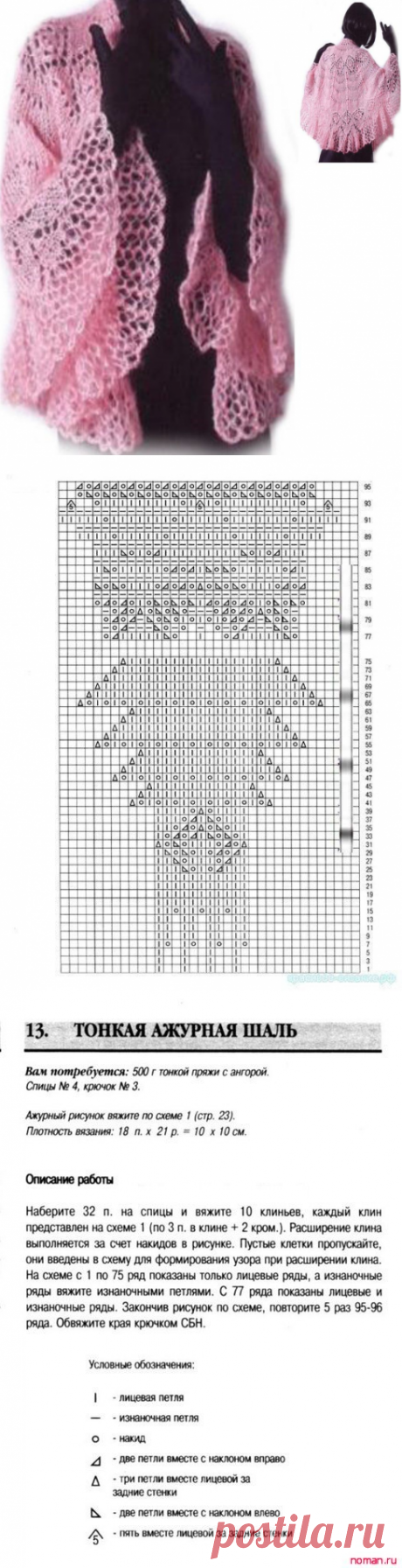 Замечательная тонкая ажурная накидка спицами — Сделай сам, идеи для творчества - DIY Ideas