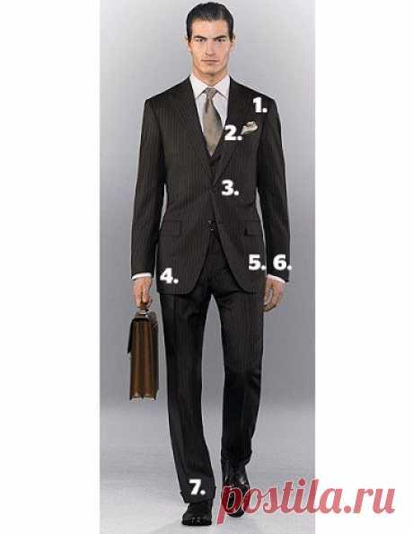 Как по семи признакам определить, что костюм сидит ОК  Даже самый прекрасный и дорогой костюм не будет смотреться на вас, если он плохо сидит. Мы расскажем о семи признаках, на которые следует обратить внимание при выборе костюма. Если вы учтёте их все, то костюмчик будет сидеть идеально.  1. Обращаем внимание на плечи костюма, они должны идеально совпадать с вашими, не нависать и не быть короче.  2. Ваша прямая ладонь должна легко скользить между телом и лацканами, когда ...