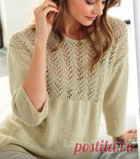 Классический пуловер с ажурной вставкой спицами
