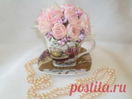 Тюльпаны из атласных лент своими руками. Мастер-класс с пошаговыми фото