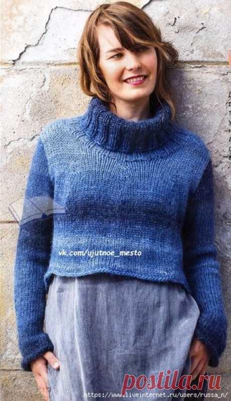 Укороченный свитер спицами  Размеры: ХS(S)М(L)ХL   Размеры готового изделия:  обхват груди - 80(88)96(104)112 см,  длина спинки - 48(49)50(52)54 см,  длина переда - 36(37)38(40)42 см,  внутренняя длина рукава - 45(46)47(48)49 см.   Вам потребуется: 300(300)350(400)450 г меланжевой(826) пряжи Nоvitа Jоki (100% шерсть, 105 м/50 г), круговые спицы № 7 длиной 80 см, круговые спицы № 6 и № 8 длиной 40 см, крючок № 6.   Техника вязания.  Лицевая гладь: лиц. ряды - лиц. п., изн. ...