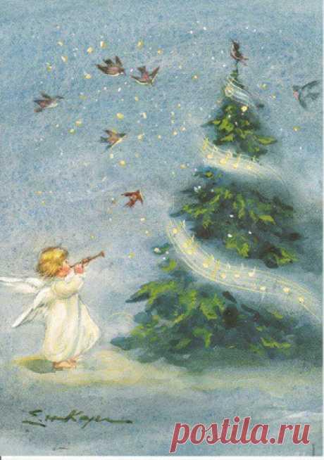 Engeltje speelt fluit bij de kerstboom (K97-12) ansichtkaart - De Nieuwe Boekerij
