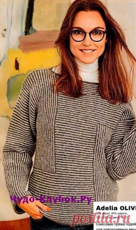 Пуловер с полосками разного направления вязаный спицами 1829 | ✺❁сайт ЧУДО-клубок ❣ ❂✺Пуловер привлекает чередованием вертикальных и горизонтальных полос. В основе - объемный силуэт, прямые рукава и вырез-лодочка. ❂ ►►➤6 000 ✿моделей вязания ❣❣❣ 70 000 узоров►►Заходите❣❣ %