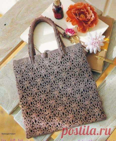 Прямоугольная сумка с цветочным ажуром связанная крючком схема - Вязанные сумки