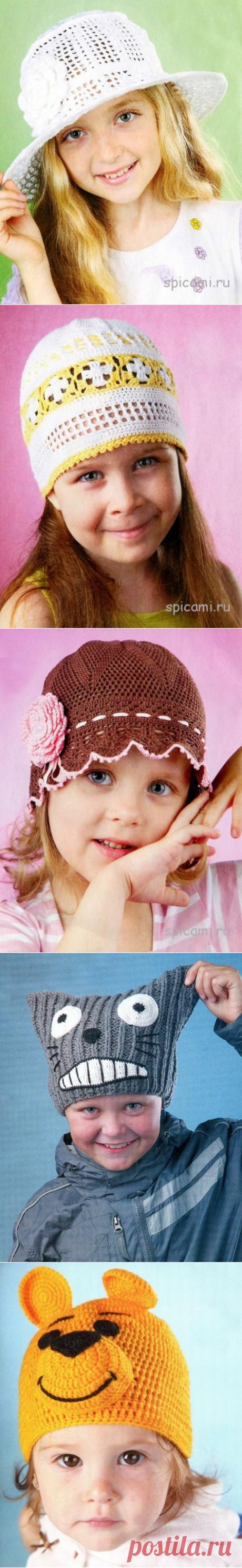 Вязаные детские шляпки, шапочки, панамки. 6 моделей.