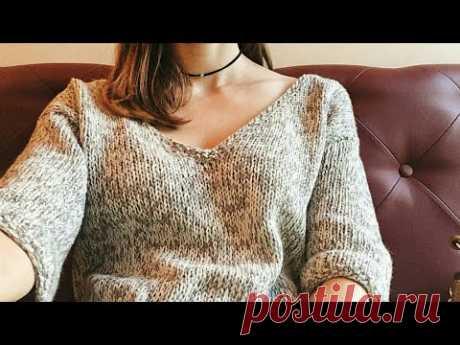 Cвитер спицами БЕЗ ШВОВ 🎈 НЕ РЕГЛАН вязание Knit Mom мк мастер-класс своими руками fashion knitting