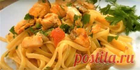 Простые Рецепты : Паста с Лососем по итальянски.