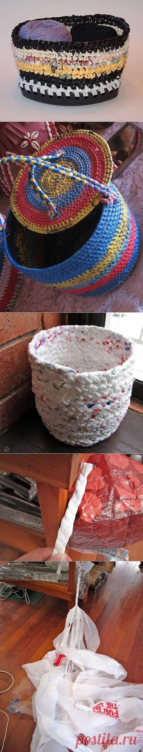 Эко-рукоделие: корзинки и блюда из пластиковых пакетов. Идеи. Мастер-классы.