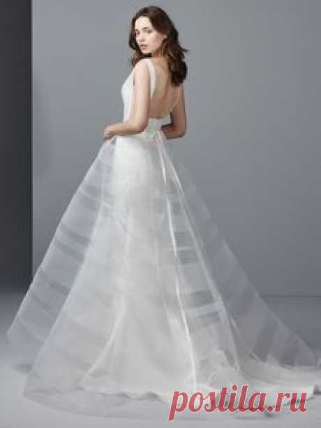 Sottero and Midgley - COHEN, This sleeveless Reena Mikado fit-and-flare wedding dress features an elegant bateau neckline, sheer side insets, a square back and self-covered buttons trailing down the train. Finished with zipper closure. Detachable Valetta tulle over-skirt with sheer horizontal horsehair sold separately. Detachable Valetta beaded belt on grosgrain ribbon also sold separately.