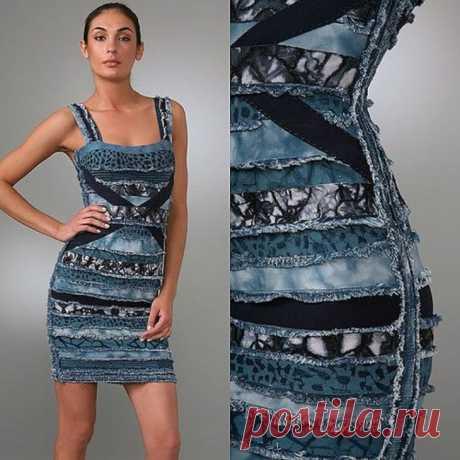 Джинсовое платье из кусков