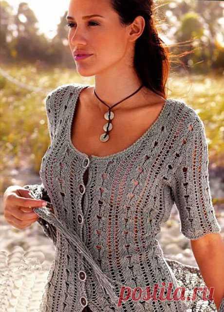 Жакет – блуза Эстика на пуговицах с коротким рукавом для лета спицами – описание вязания со схемой