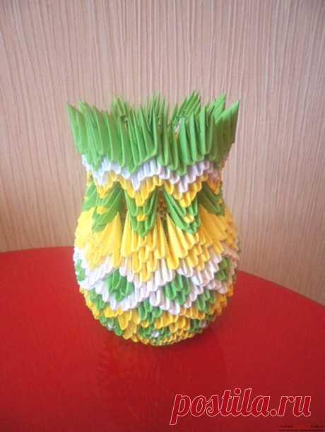 Модульное оригами «Ваза весеннее настроение» фото процесса создания оригами.