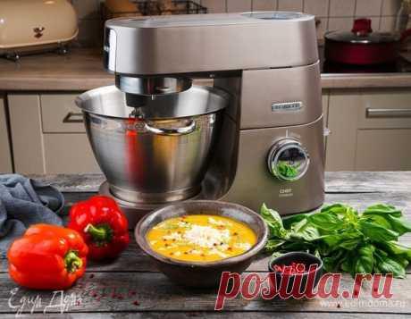 Овощной крем-суп с запеченным перцем и сыром. Ингредиенты: морковь, перец болгарский красный, картофель
