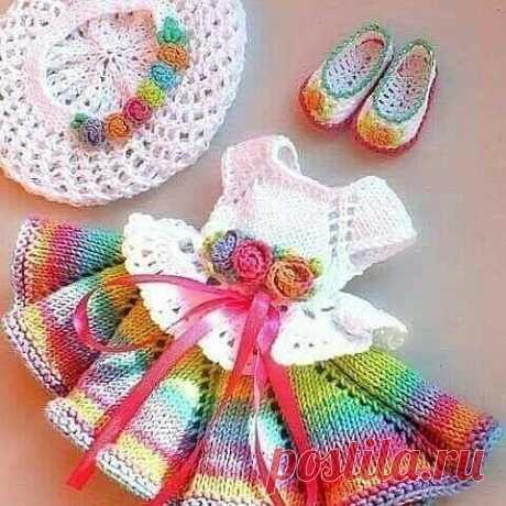 Идеи детских платьев крючком.