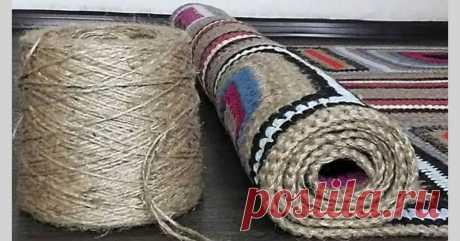 Вяжем коврик из остатков пряжи