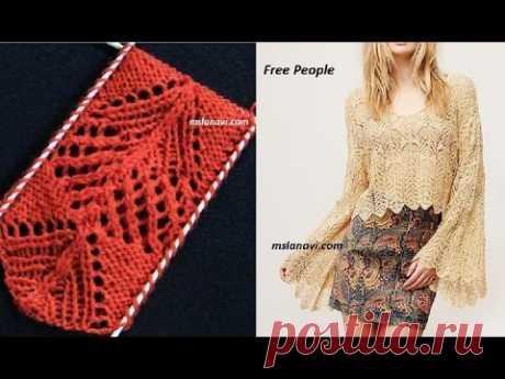 Ажурный узор спицами к пуловеру. Как связать ажурный узор спицами. Ажурные узоры спицами