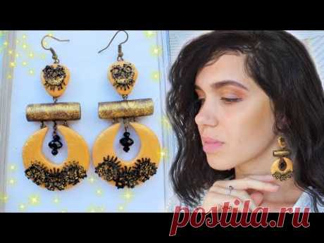 BEAUTIFUL Earrings with LACE ♥♥ EASY DIY ♥♥ Polymer Clay