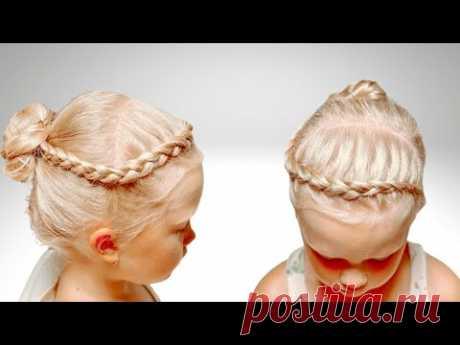 Простая причёска с шишечкой. Детские прически