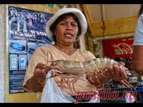 Гигантские креветки уличная еда тайланда