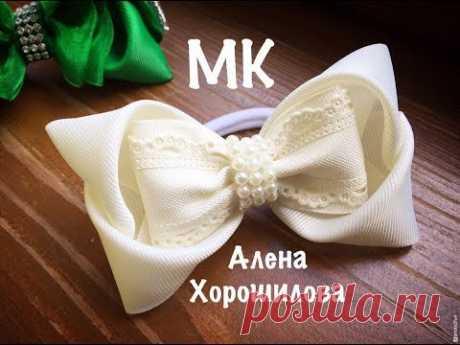 Оригинальные бантики из лент МК Алена Хорошилова DIY Kanzashi ribbon tutorial из репса