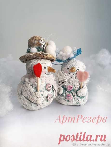 Лепим с детьми нежных снеговичков из папье-маше   Журнал Ярмарки Мастеров