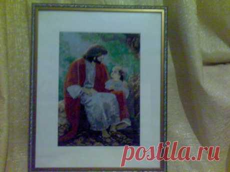 Беседа отца и сына ,Картина вышитая крестиком ,размер 40*50 см  по рамке .